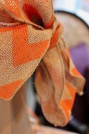 Fall Decoration Details - Orange and Burlap Ribbon