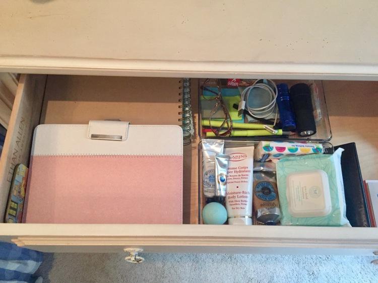 organized bedside drawer