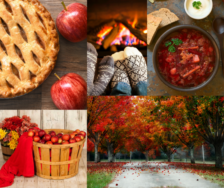 Smells of Fall Collage - pie, soup, apples, trees, fireplace