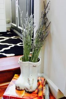 lavender in gardening boot sculpture
